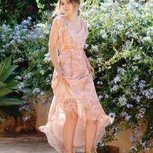 Anthro HD in Paris Pink Floral Maxi dress